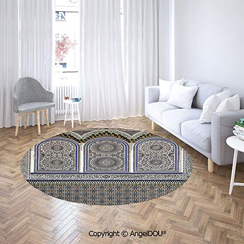 AngelDOU Soft Durable Round Children Carpet Play Mat Nostalgic Moroccan Architecture with Stone Carving and Motifs Majestic Ottoman Empire Artsy Baby Crawling Blanket Area Rug. ()