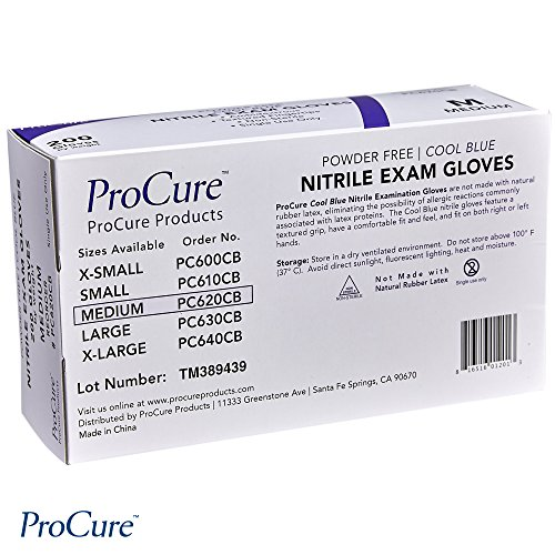 ProCure Disposable Nitrile Gloves – Powder Free, Rubber Latex Free, Medical Exam Grade, Non Sterile, Ambidextrous - Soft with Textured Tips – Cool Blue (Medium, 2000 Case) by Medacure (Image #7)