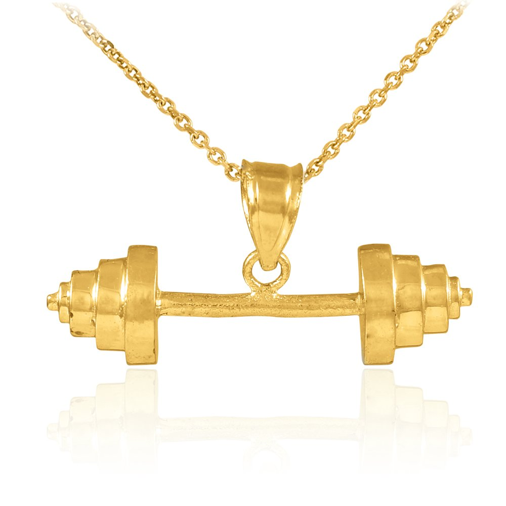 10k Gold Weightlifting Barbell Sports Pendant Necklace