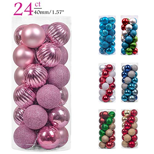 Teresas Collections 24ct 40mm Elegant Pink Shatterproof Christmas Ball Ornaments Decoration for Christmas Tree