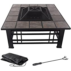 "Pure Garden Fire Pit Set, Wood Burning Pit - Includes Spark Screen and Log Poker - Great for Outdoor and Patio, 32"" Square Tile Firepit by"