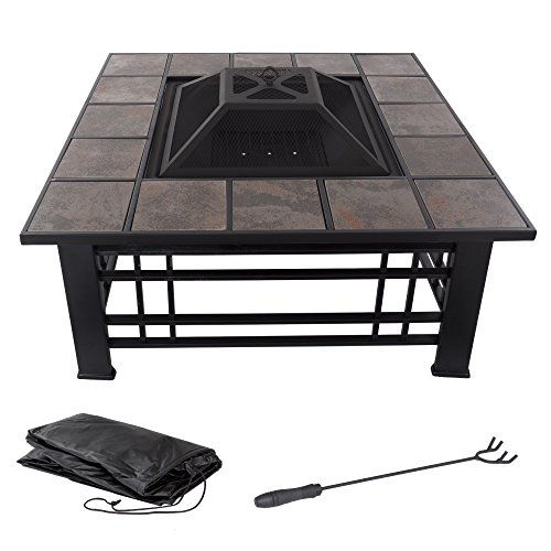 """Fire Pit Set, Wood Burning Pit - Includes Spark Screen and Log Poker - Great for Outdoor and Patio, 32"""" Square Tile Firepit by Pure Garden (Pit Fire Tile)"""