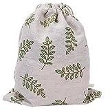 Wansan Drawstring Bags Cotton Soft Flowers Travel Cloth Underwear Storage Pouch Pocket for Girls Boys Kids Women Men(L)