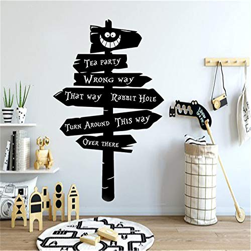 Eisoa Quotes Vinyl Wall Art Decals Saying Words Removable Lettering Tea Party Gift Rabbit Hole Nursery Wall Sticker Alice in Wonderland Decor Beauty Bedroom