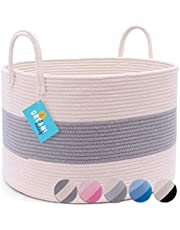 OrganiHaus 3-Toned Cotton Rope Storage Baskets for Laundry and Blankets