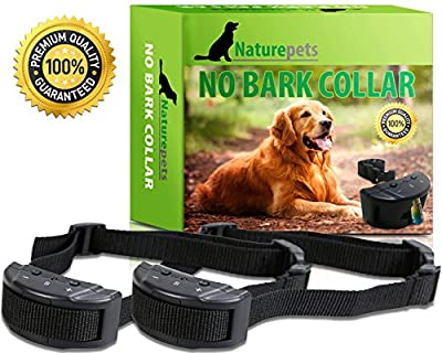 Naturepets No Bark Collar - No Harm Shock Dog Control - 7 Sensitivity Adjustable Levels for Medium Large or Small Dogs 15-120 Pound Dogs