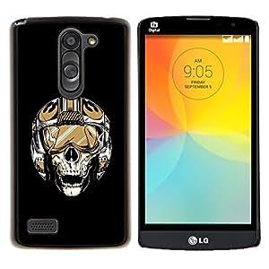 "Be-Star Único Patrón Plástico Duro Fundas Cover Cubre Hard Case Cover Para LG L Prime / L Prime Dual Chip D337 ( Cráneo Piloto"" )"