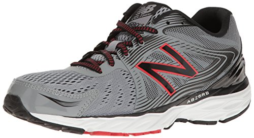 New Balance Mens M680v4 Running Shoe Steel/Black/Alpha Red