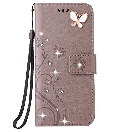 Price comparison product image Auroralove iPhone 6 Plus/6s Plus Luxury Handmade Bling Rhinestone Soft Slim Flip Stand Wallet Case for iPhone 6 Plus/6s Plus 5.5 Flower Butterfly PU Leather Case for Girls Women-Gray