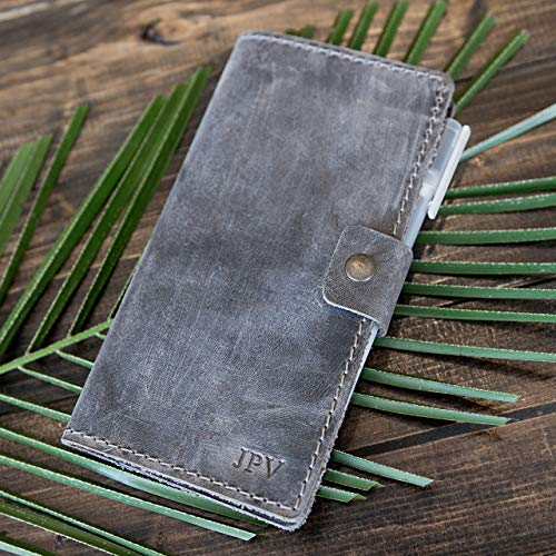 Pegai Handcrafted Distressed Leather Checkbook Cover - Clark Rock Gray