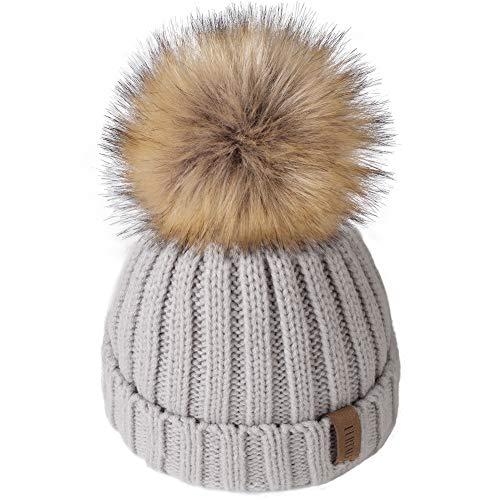 Kids Winter Knitted Pom Beanie Bobble Hat Faux Fur Ball Pom Pom Cap Unisex Kids Beanie Hat,Grey,One Size (Poofs Knitted)