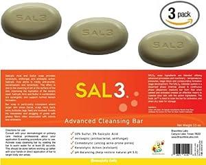 3 Pack - SAL3 Soap - 3% Salicylic Acid, 10% Sulfur from SAL3