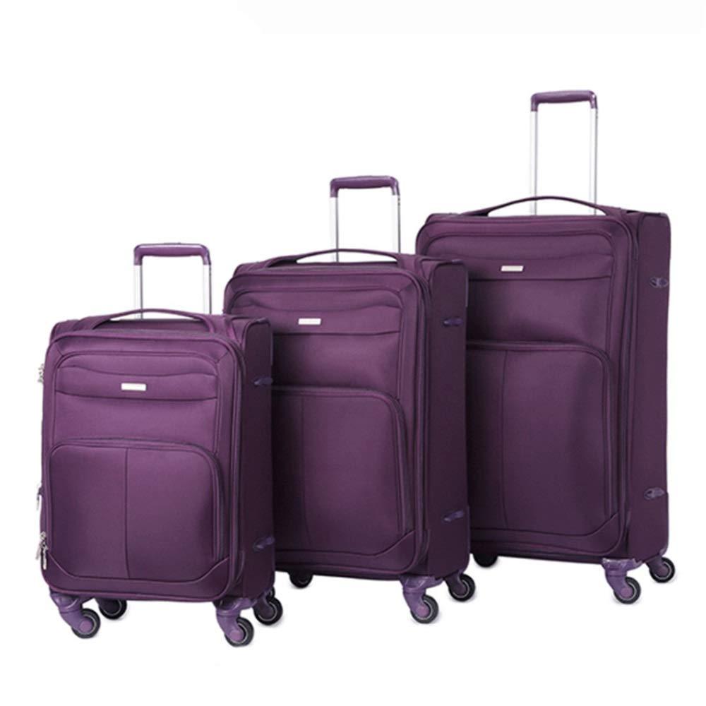 スーツケース TSAロック付き3ピースオックスフォード生地ソフトサイドキャリーオン拡張可能アップライトスーツケースソフトシェル軽量360°サイレントスピナー多方向ホイール(旅行用)飛行機のフライトとチェックイン20インチ24インチ28インチ荷物入れ子セット (色 : 紫の, サイズ : 20in+24in+28in) B07T35M8F6 紫の 20in+24in+28in