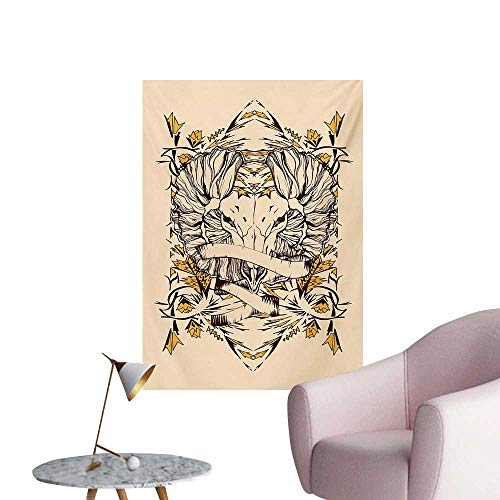 Anzhutwelve Zodiac Aries Photographic Wallpaper Abstract Astrological Wild Animal in Hand Drawn StyleBeige Earth Yellow Chesnut Brown W24 xL36 Wall Poster