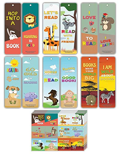 Creanoso Inspiring Reading Habit Animals Bookmarks for Kids (60-Pack) – Assorted Bookmark Cards + 60 Stickers Bulk Set – Back to School Teacher Rewards for Young Readers