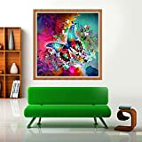 Pollyhb 5D Diamond Painting, Colorful Butterfly Paintings Rhinestone Embroidery Pasted DIY Diamond Cross Stitch (B)