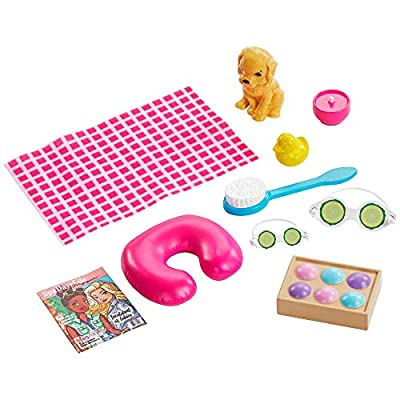 ​Barbie Spa Doll, Blonde, with Puppy and 9 Accessories, Including Neck Pillow, Rubber Duck and Cucumber Eye Masks, Gift for Kids 3 to 7 Years Old: Toys & Games