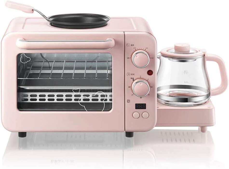 8L Electric Oven,Multi-Function Oven Countertop 3-in-1 Breakfast Machine Warm Drinking Pot Hot Milk + Grilled + Baked + Heated -1400W