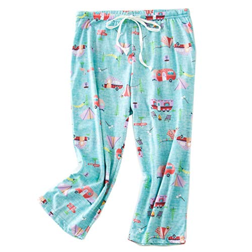 ENJOYNIGHT Women's Capri Pajama Pants Lounge Causal Bottoms Print Sleep Pants (Small, Bus)