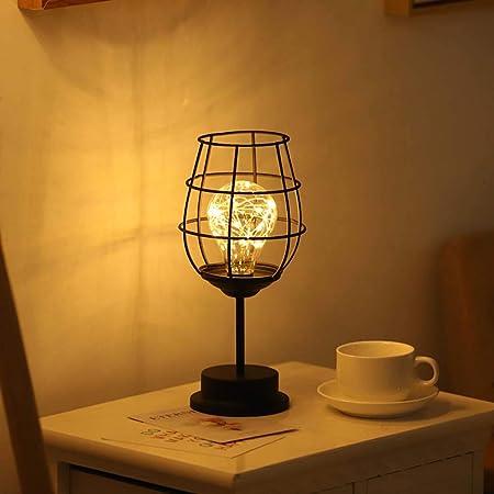 BDHBB Lámpara de Mesa de Estilo Retro, con Pilas Lámpara de Mesa pequeña Lámpara de Mesa de Hierro, lámpara de Noche,Redwineglass: Amazon.es: Hogar