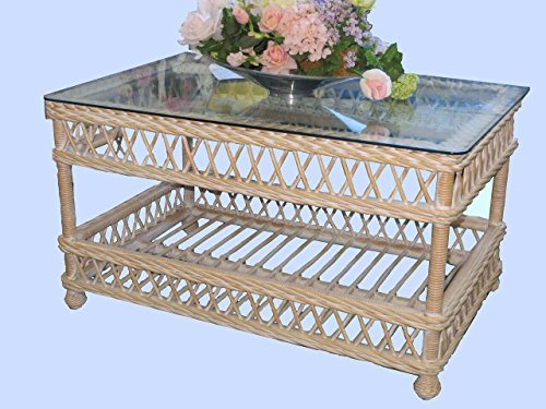 Bar Harbor Coffee Table Finish: Whitewash - Bar Harbor Rattan