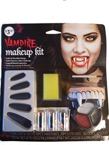 Vampiress Costumes Kit (Fun World Vampiress Makeup Kit Halloween Accessory, Red/Black)