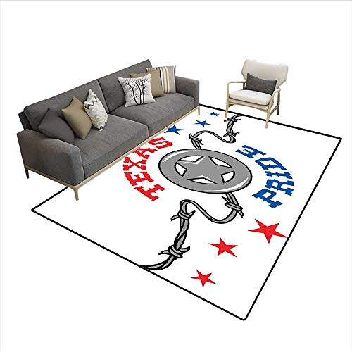 (Carpet,Lone Star and Barb Wire United States of America South Motif,Indoor Outdoor Rug,Vermilion Blue and Pale Grey 6'x7')