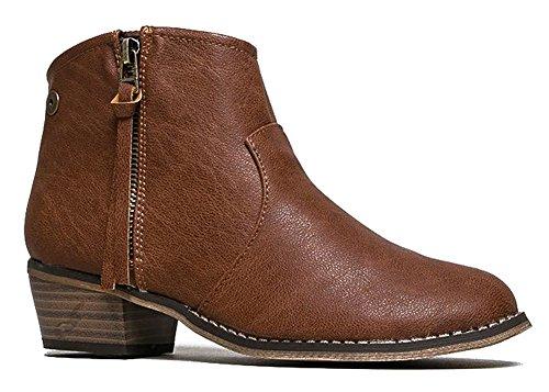 Breckelles Dorado-11 Western Inspired Zip Up Stivaletto Bootie Tan-11