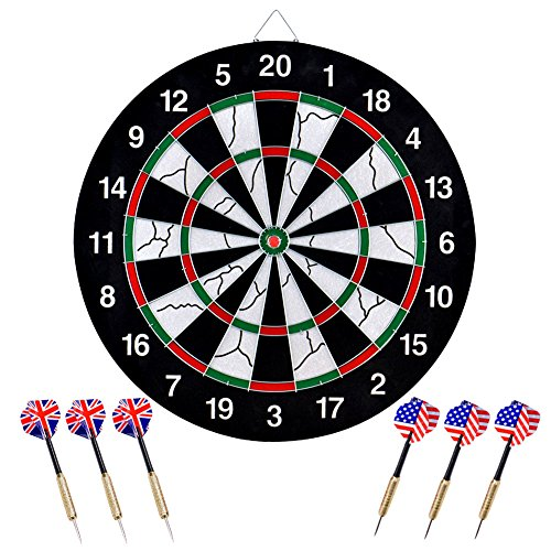 Bristle-Dartboard-Wuudi-Double-sided-Flocking-Dart-Board-with-6-Brass-Darts18-inches