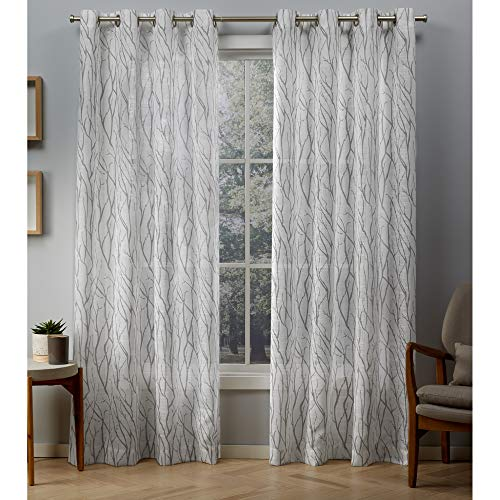 le Sheer Grommet Top Curtain Panel Pair, Silver, 54x84, 2 Piece ()