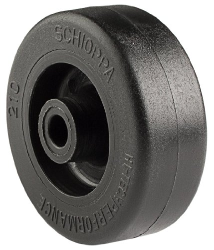 "Schioppa R.210 TB-2"" Diameter x 3/4"" Width Thermoplastic Rubber Wheel, Flat Tread, Wheel Only, 1/4"" Axle, Black"