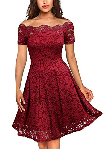 MISSMAY Women's Vintage Floral Lace Short Sleeve Boat Neck Cocktail Party Swing Dress, X-Large, Red (Jewelry To Wear With Lace Wedding Dress)