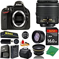 Great Value Bundle for D5200 DSLR – 18-55mm AF-P + 16GB Memory + Wide Angle + Telephoto Lens + Case