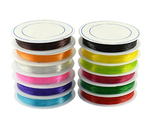 - 10 Roll Multicolor Fish Silk Elastic Line - 0.8mm/1mm Beaded Wire for DIY Hand Chain Wire String Bead String Crystal String (Color Random Mixed Send) (1.0 mm)