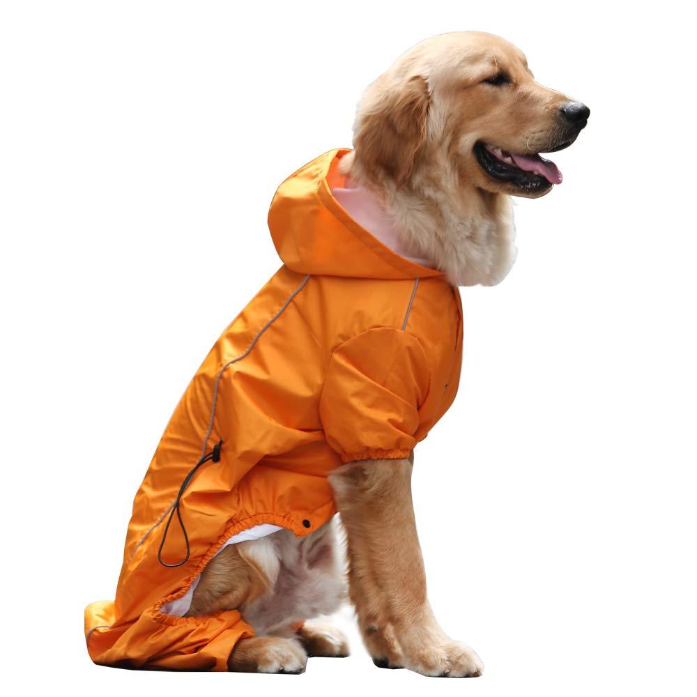 EVELOVE Large Dog Rain Jacket Poncho Waterproof Clothes with Hood Dog Raincoat with Safe Reflective Stripes for Small Medium Large Pet (XXL, Orange)