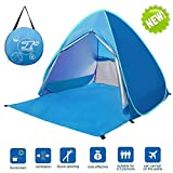 large baby sun shade - LingAo Automatic Pop Up Beach Tent,Sun Shelter Cabana 2-3 Person UV Protection Beach Shade for Outdoor Activities (Blue)