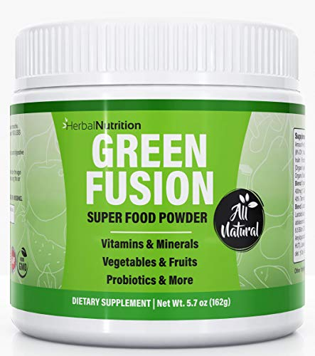 Green Fusion Superfood, Greens Powder, One Jar Organic Green Veggies and Fruits, Probiotics, Digestive Enzymes, Berry Taste, Gluten Free, Non GMO, Dairy Free, Caffeine Free, No Artificial Flavoring