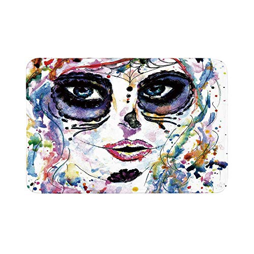 C COABALLA Sugar Skull Decor Durable Door Mat,Halloween Girl with Sugar Skull Makeup Watercolor Painting Style Creepy Decorative for Living Room,15.7