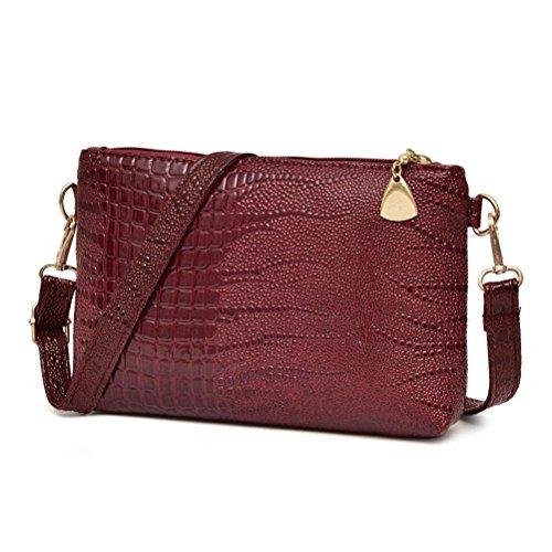 Clearance Rakkiss Womens Handbag Fashion Crocodile Pattern Shoulder Bag Small Tote Ladies Purse (Wine Red) (Miu Bags Designer Miu)
