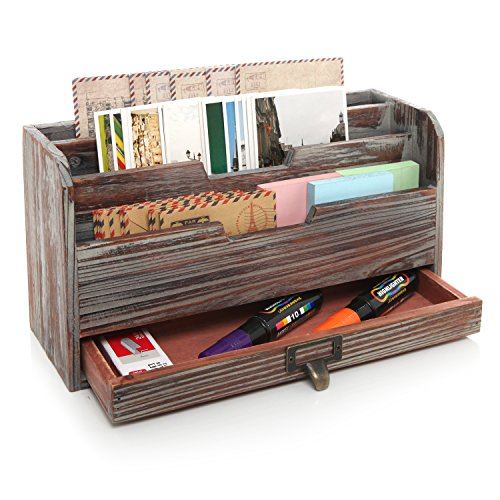 3 Tier Country Rustic Torched Wood Office Desk File Organizer Mail Sorter Tray Holder w/ Storage Drawer
