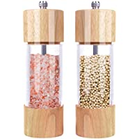 Monland Wooden Salt and Pepper Grinder Set, Manual Salt and Pepper Mill Wood, Adjustable Ceramic Core- -Pack of 2