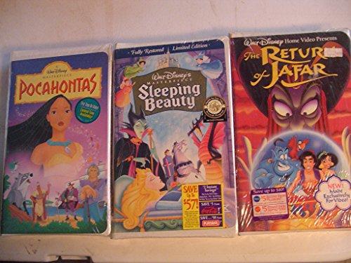 3 - Walt Disney's VHS Tapes Pocahontas, Sleeping Beauty, Aladdins the Return Of Jafar
