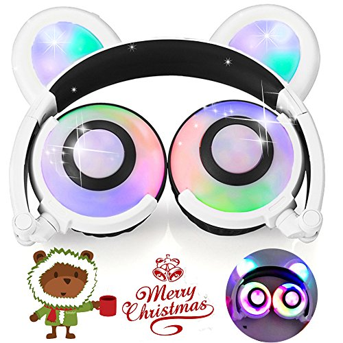 Kids Headphones Anime Bear Ear AMENON USB Rechargeable Wired Foldable Waterproof Over Ear Gaming Headsets with LED for Girls,Kids,Boys,Compatible for iPad,iphone,Android Phone,Computer