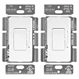ENERLITES Low Voltage Slide Dimmer Decorator Switch, On/Off Rocker, for 0-10V LED and Fluorescent Fixtures, Single-Pole or 3-Way, UL Listed, 51300L-W-2PCS, White (2 Pack)