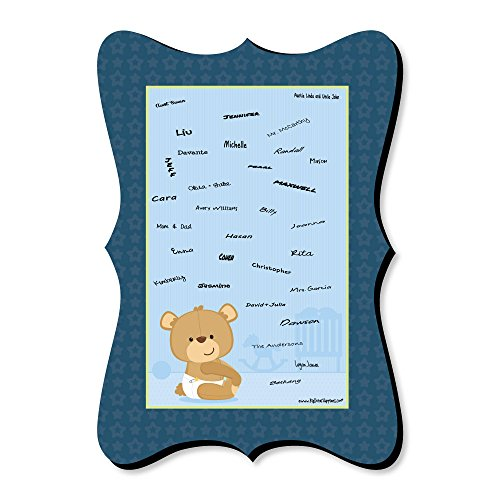 - Big Dot of Happiness Baby Boy Teddy Bear - Unique Alternative Guest Book - Baby Shower Signature Mat