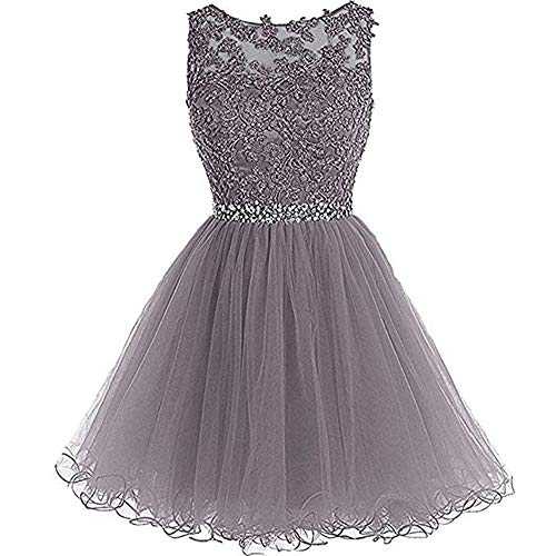 Beaded lace Flower Appliques Mother and Daughter Homecoming Dress Sleeveless Prom Evening Party Ball Short Dress Grey