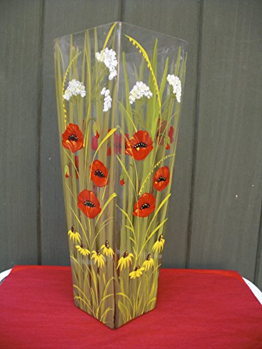 (Hand painted crystal vase with Poppies,Daisies and Queen Anne's Lace)
