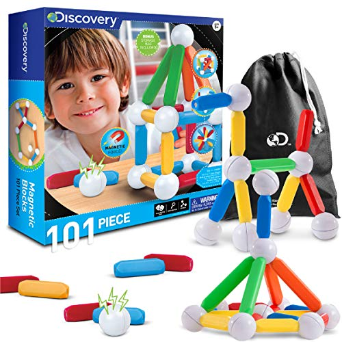 Discovery Kids 101 Piece Best Magnetic Tile Set, Magnetic Building Blocks Kit for Boys/Girls, 2D, 3D Educational Creativity, STEM Toys for Children with Cinch Bag ()