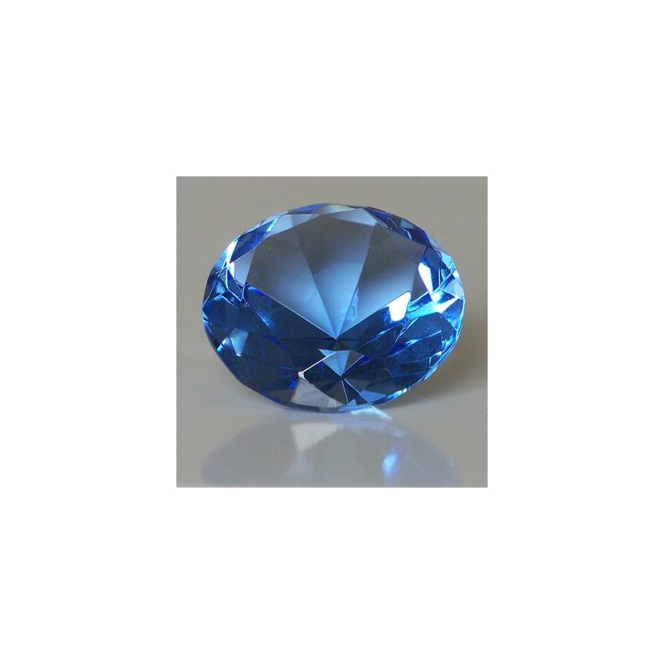 Mothers Day Special Clear Blue Glass Crystal Diamond Shaped Paperweight 2.25
