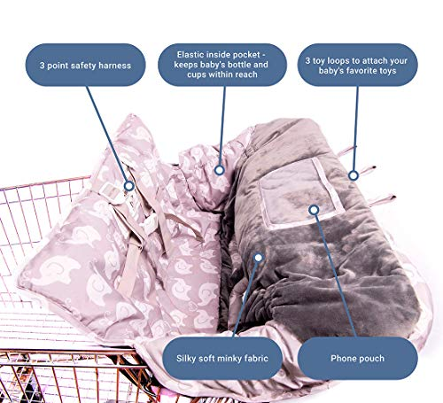 2-in-1 Baby Shopping Cart Cover and High Chair Protector - Germ-Protecting Seat Covers for Grocery Carts, Restaurant High-Chairs - Universal, Soft, Safe - Travel Gear for Babies, Infants by Tooshin Baby (Image #1)